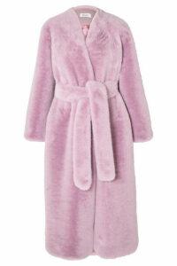 OCHI - Belted Faux Fur Coat - Lilac