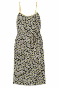 HVN - Susan Printed Silk Crepe De Chine Dress - Black