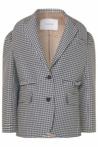 Pushbutton - Oversized Houndstooth Jacquard Blazer - Navy