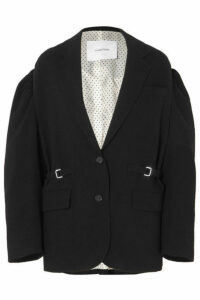 Pushbutton - Oversized Grain De Poudre Wool Blazer - Black