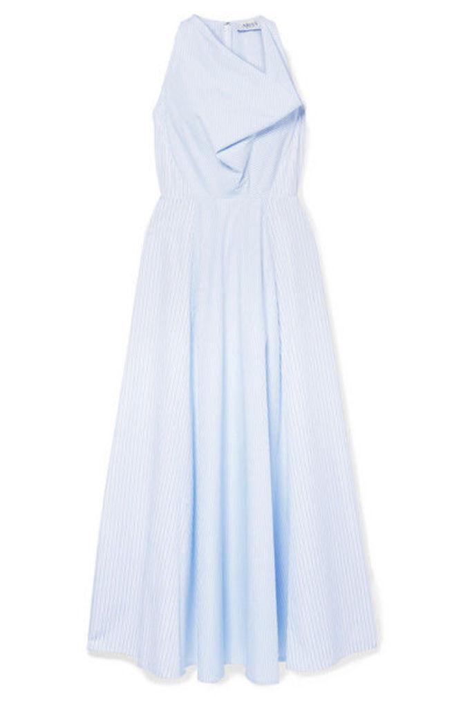 ARIAS - Draped Striped Cotton-poplin Maxi Dress - Blue