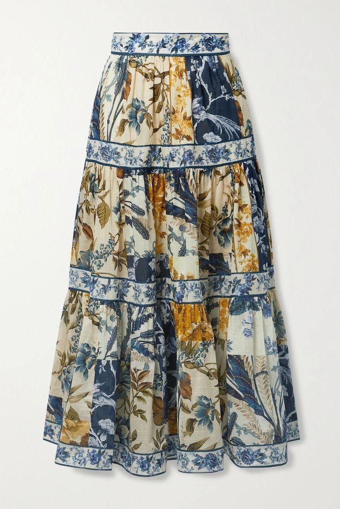 Anna Mason - Rufflette Tiered Floral-print Cotton-poplin Midi Dress - Black