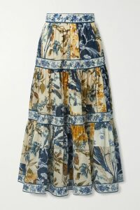 Anna Mason - Rufflette Tiered Floral-print Cotton-poplin Midi Dress - Black