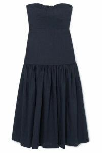 Veronica Beard - Fiore Strapless Linen-blend Midi Dress - Navy
