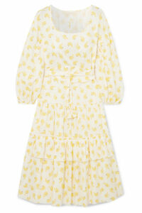 Anna Mason - Vita Ruffled Printed Cotton Midi Dress - Yellow