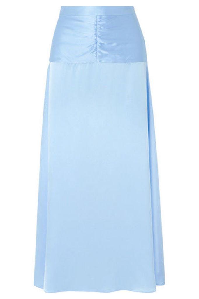 ARIAS - Ruched Silk-charmeuse Maxi Skirt - Sky blue