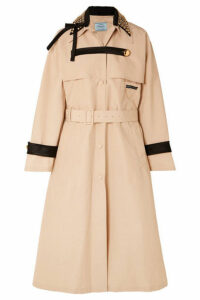 Prada - Studded Cotton-blend Twill Trench Coat - Beige
