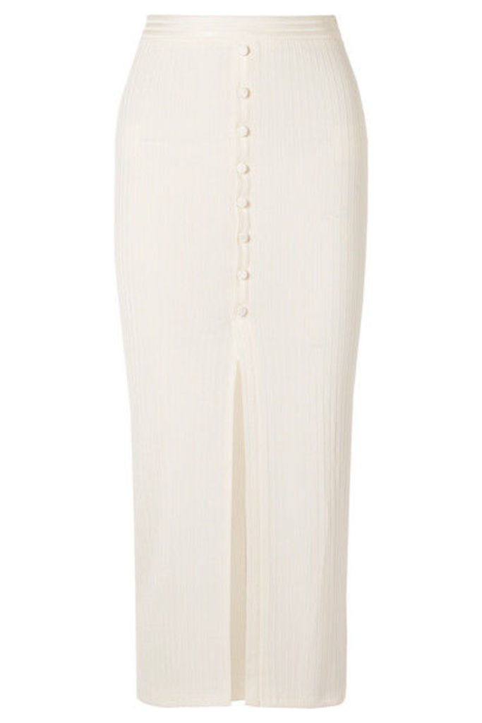 Fleur du Mal - Button-embellished Ribbed-knit Midi Skirt - Cream