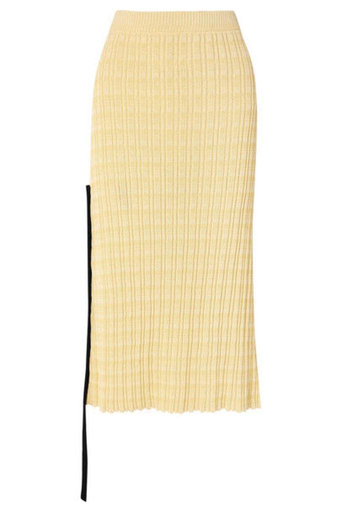 Jil Sander - Chiffon-trimmed Ribbed Cotton Midi Skirt - Yellow