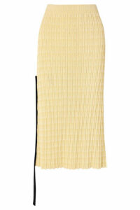 Jil Sander - Chiffon-trimmed Ribbed Cotton Midi Skirt - Yellow