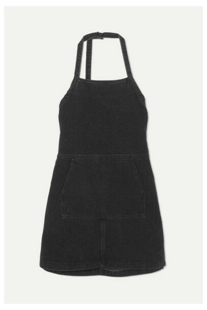 Sandy Liang - Wrangler Open-back Denim Mini Dress - Black