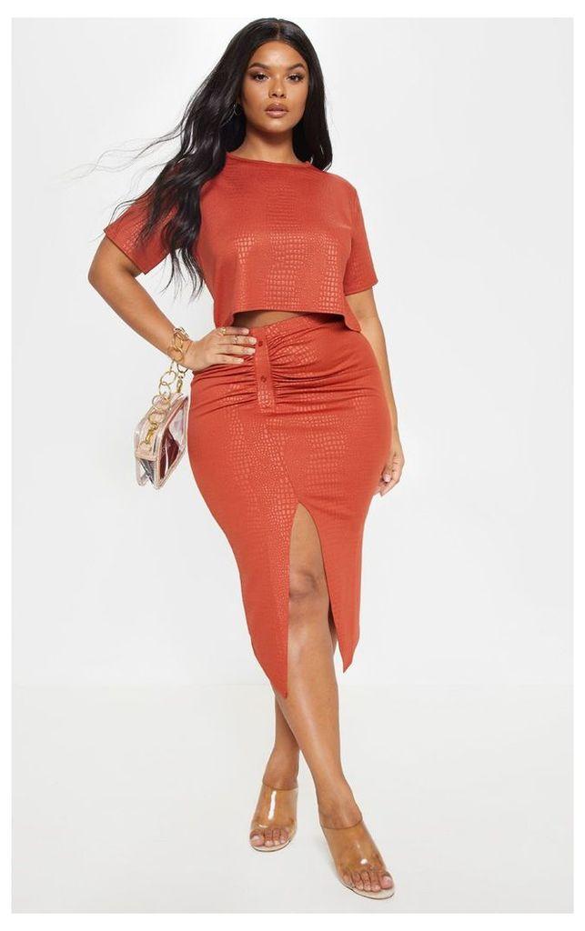 Plus Rust Textured Split Detail Midi Skirt, Orange