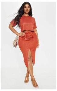 Plus Rust Textured Split Detail Midi Skirt, Orange
