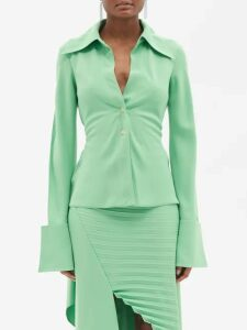 Denis Colomb - Gathered Neck Linen Dress - Womens - Navy