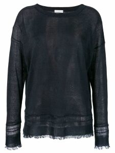 Ballantyne fringed round neck jumper - Black