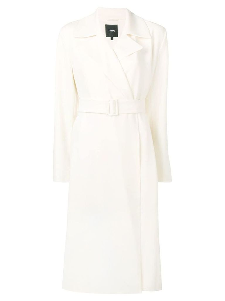 Theory belted fitted coat - White