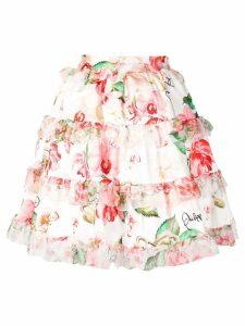 Philipp Plein ruffled floral skirt - White