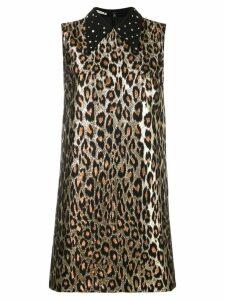 Miu Miu metallic leopard printed dress - Gold