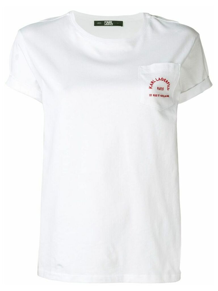 Karl Lagerfeld embroidered logo T-shirt - White