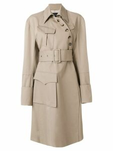 Rokh asymmetric belted trench coat - Neutrals