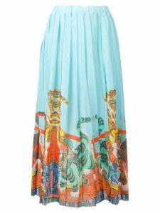 Ultràchic tiger print pleated skirt - Blue