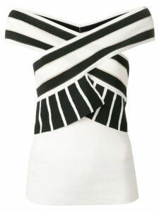 Liu Jo contrast striped top - White