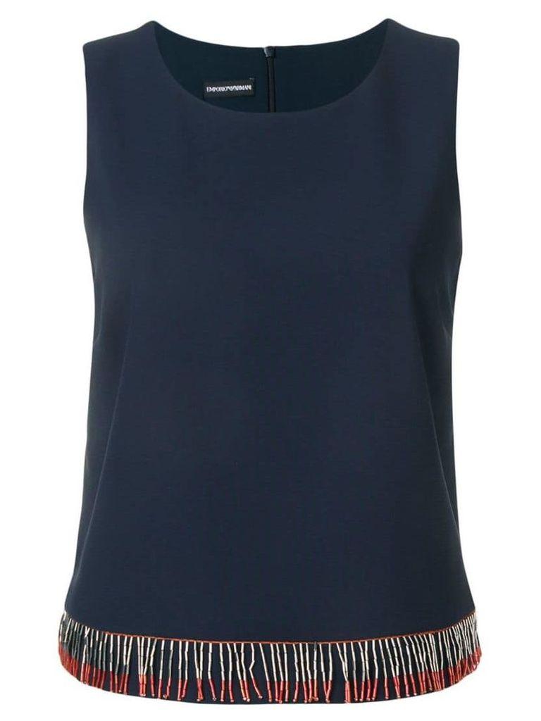 Emporio Armani beaded detailed vest top - Blue