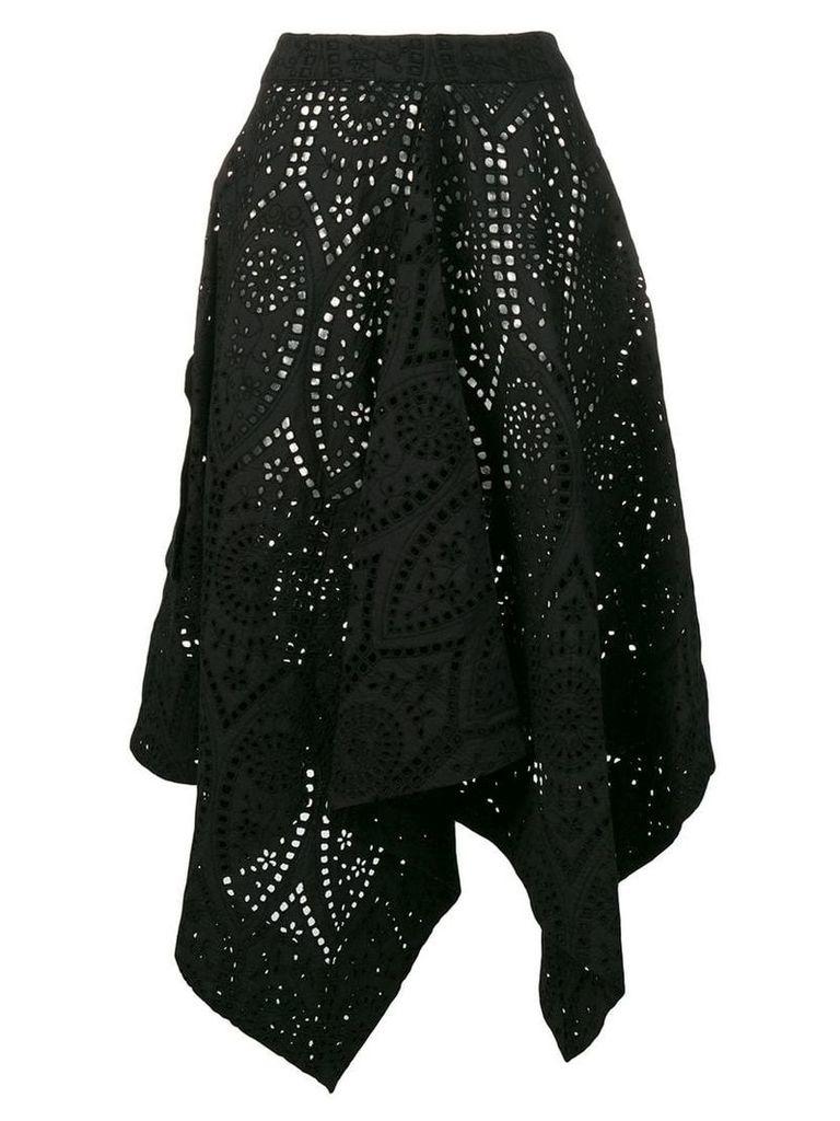 Ganni asymmetric perforated skirt - Black