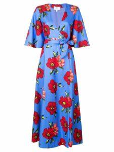 Rebecca De Ravenel floral print wrap dress - Blue