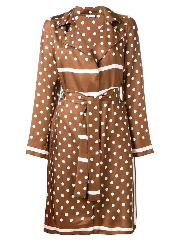 P.A.R.O.S.H. polka dot trench coat - Brown