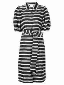 Lisa Marie Fernandez belted striped shirt dress - Black