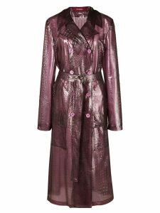 Sies Marjan crocodile effect double breasted coat - Purple