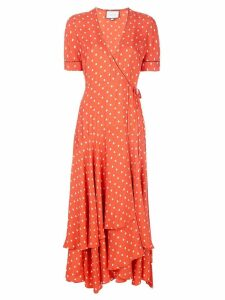 Alexis dot print wrap dress - Orange