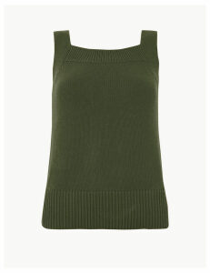 M&S Collection Pure Cotton Square Neck Knitted Vest Top