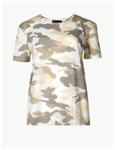 M&S Collection Camouflage Print Relaxed Fit T-Shirt