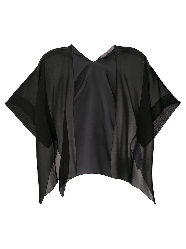 D.Exterior short-sleeve sheer cardigan - Black