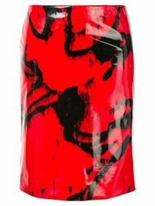 CK Calvin Klein printed vinyl-effect skirt - Red