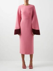 Tibi - Edith Belted Pleated Crepe Midi Dress - Womens - Black Multi
