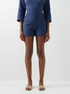Tibi - Sculpted Button Single Breasted Twill Blazer - Womens - Camel