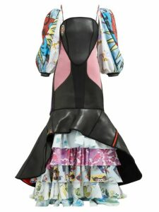Marine Serre - Scuba Suit & Bedsheet Ruffled Gown - Womens - Multi
