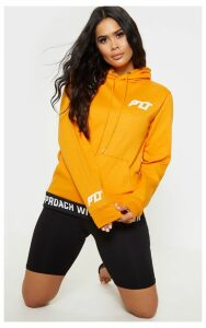 PRETTYLITTLETHING Orange Tape Hem Oversized Hoodie, Orange