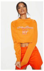 Orange Santa Monica Slogan Crop Sweater, Orange