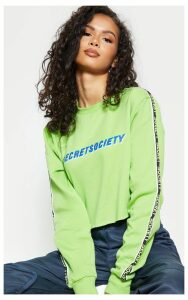 Neon Lime Secret Society Tape Detail Crop Sweater, Neon Lime