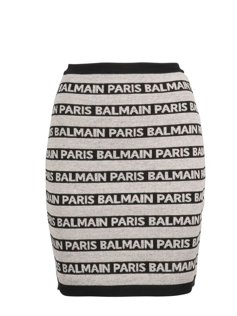 Balmain Knit Stretch Logo Skirt