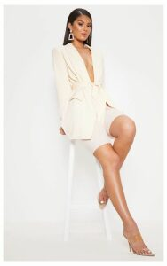 Belted Cream Woven Blazer, White