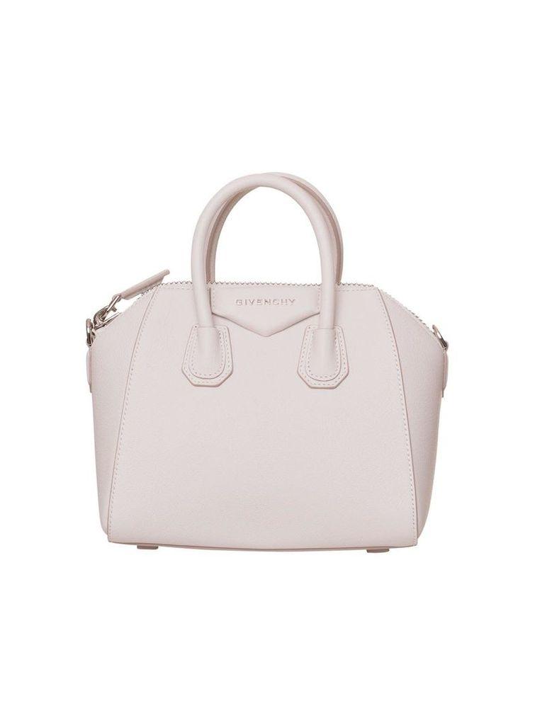 Givenchy Leather Mini Antigona Handbag In White