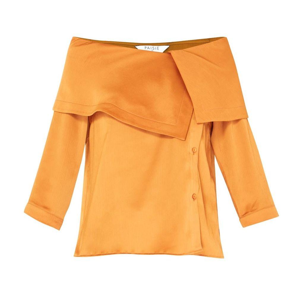 PAISIE - Bardot Blouse With Asymmetric Collars In Metallic Brown