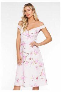 Quiz Pink and Lilac Floral Bardot Skater Dress