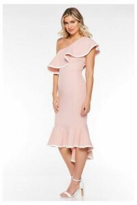 Quiz Pale Pink Asymmetrical One Shoulder Dress