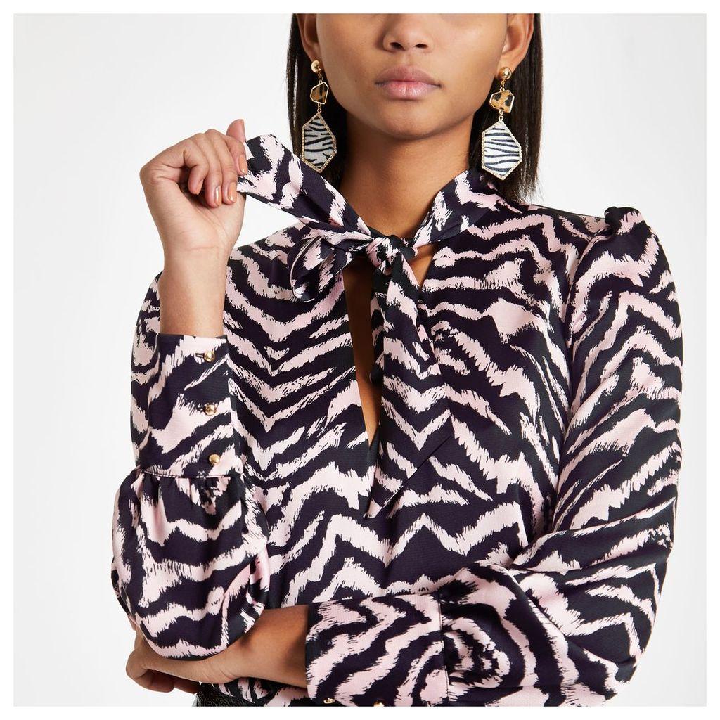 Womens Pink zebra print tie neck blouse